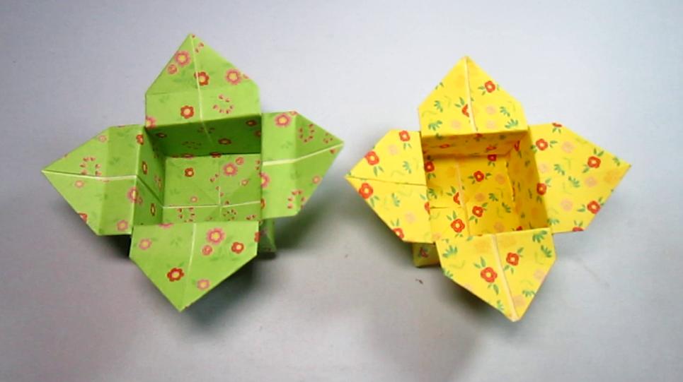 兒童手工折紙柿子花收納盒,簡單又漂亮的花瓣盒子的折法