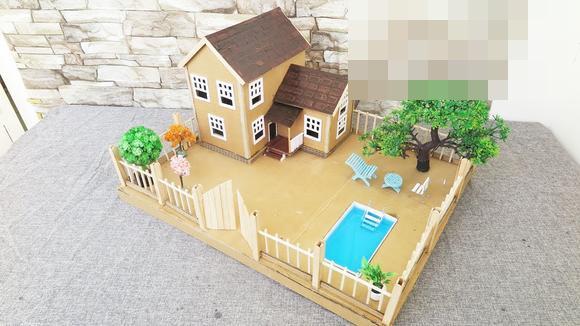 視頻:手工制作紙板迷你娃娃屋 仙女花園和游泳池的房子