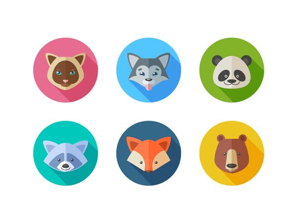AI教你绘制六个扁平化风格的*小动物肖像 三联