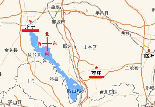 济宁在枣庄哪边啊?