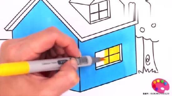 彩虹小房子簡筆畫彩繪顏色學習