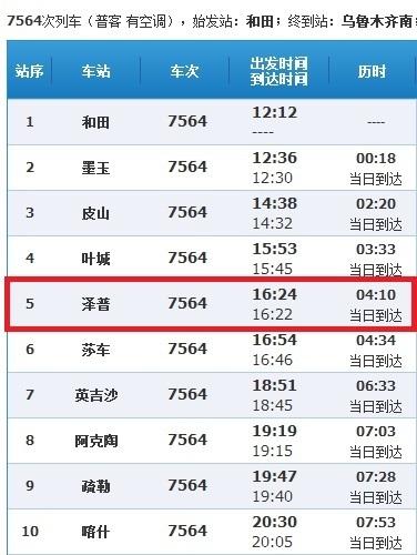 和田火车站到乌鲁木齐南站,途经泽普火车站吗