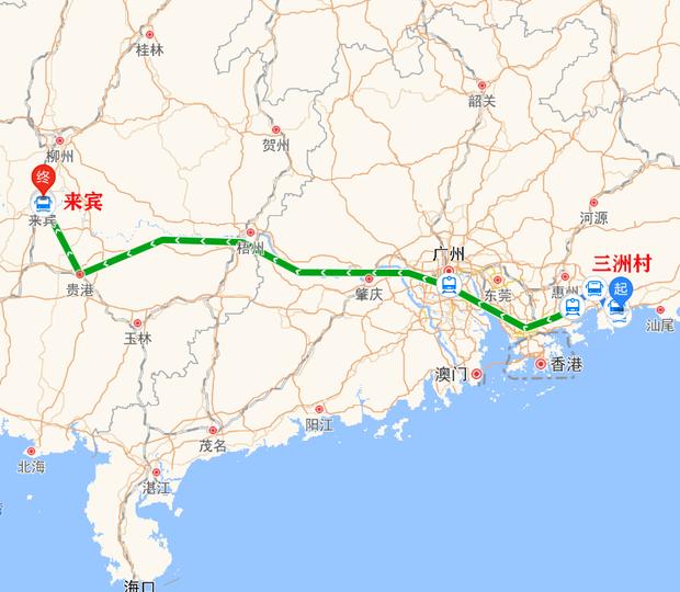 广东省惠州市惠东县黄埠镇三洲村到广西来宾有多少公里