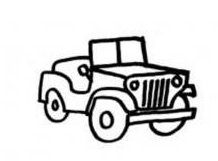 卡通简笔画+吉普车-卡通简笔画+吉普车