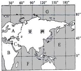 亚洲地囹�9�%9�._仔细观察亚洲范围示意图,回答下列问题