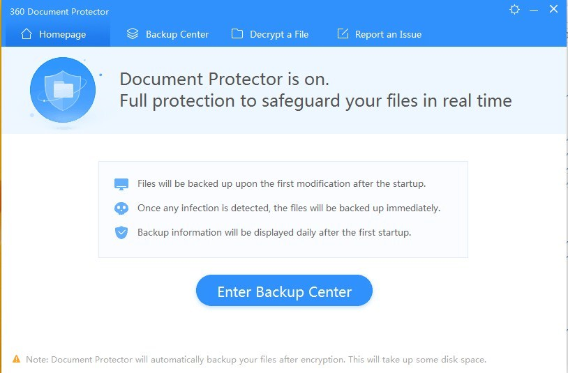 360 Document Protector Screenshot