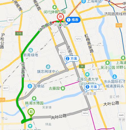 松江叶榭到闵行开发区小路怎么走