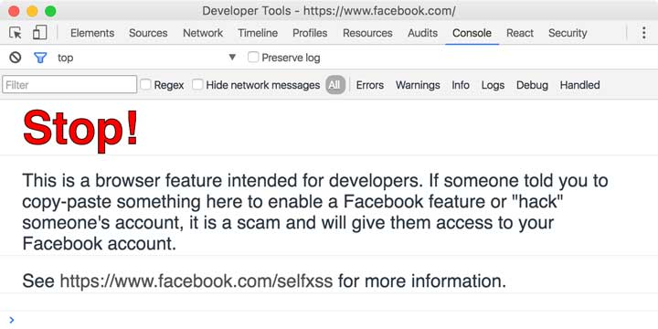 Facebook self-XSS warning message