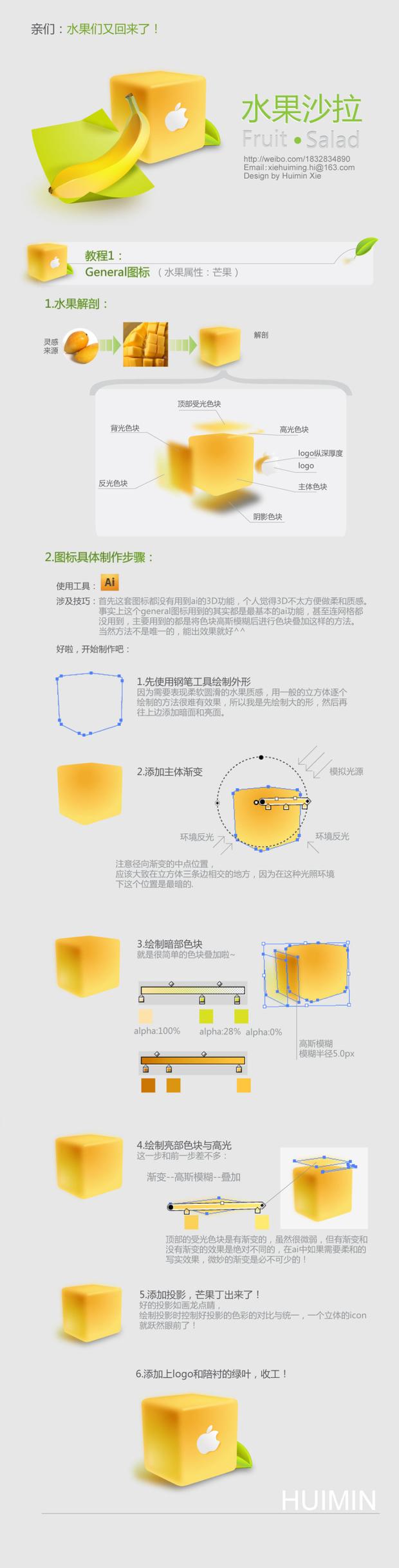 AI绘制漂亮水果沙拉图标  三联教程、