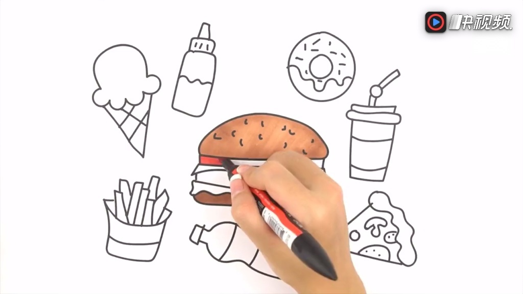 兒童簡筆畫:食物!漢堡披薩冰激凌甜甜圈薯條等 涂鴉學畫涂色畫