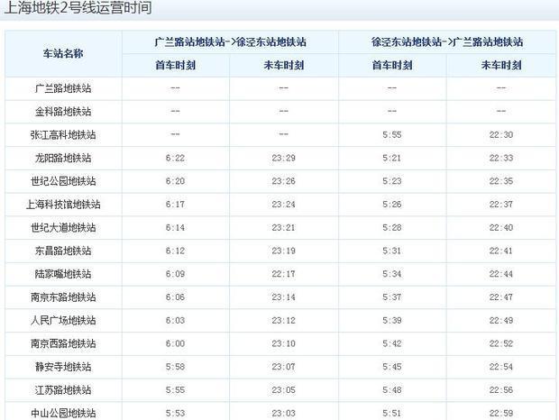 上海地铁二号线时刻_上海地铁2号线时刻表