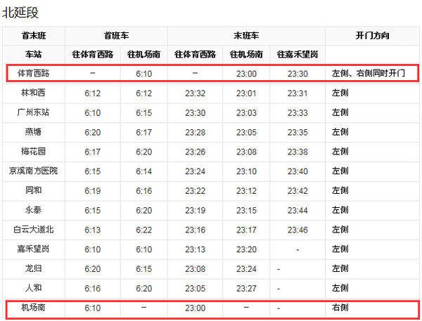 广州地铁三号线延长线全程