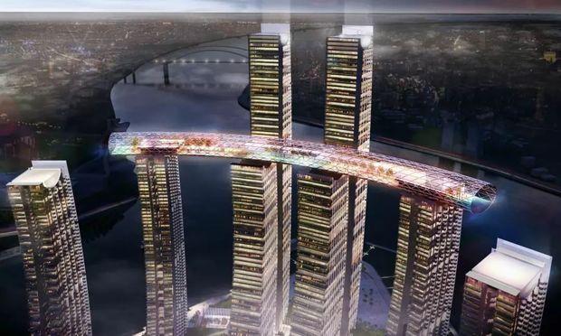 重庆朝天门摩天大楼250m高度横跨建筑长度是多少
