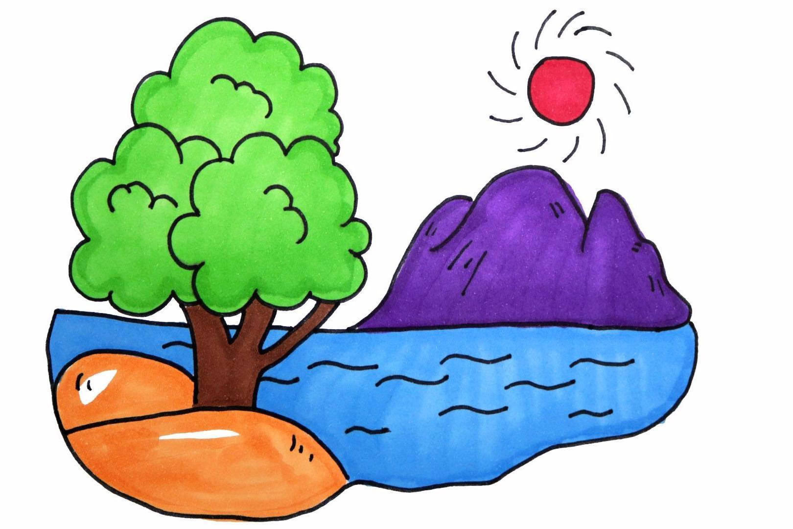视频:儿童卡通山水风景简笔画